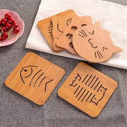 Wholesale Placemat Silicone - Hollow wooden coaster kitchen thickened anti-hot insulation mat placemat at the bottom with silicone anti-skid pad mat tray pad