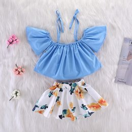 Wholesale girl holiday outfits - INS Summer Girls Bow Halter Tees Tops with Floral Ruffles Dress tutu Skirt 2 pieces Sets Lovely Kids Holiday Outfits 1-6YEars free ship