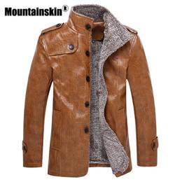 Argentina Mountainskin chaquetas de cuero de los hombres de invierno 7XL 8XL collar de pie abrigos largos hombres rompevientos polar de cuero de la PU chaqueta masculina SA375 cheap men s winter leather coats Suministro