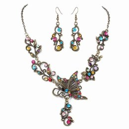 dark red jewelry sets Promo Codes - Low-cost wholesale bridal jewelry Rhinestone butterfly love flower earrings necklace Wild jewelry set