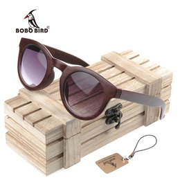 Wholesale Wood Boxes Cheap - BOBO BIRD CG012 Simple Cat Eye Design Imitative Ebony Wood Sunglasses Handmade Cheap Glasses Wood Box oculos de sol feminino