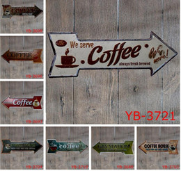 Wholesale posters coffee - Arrow Irregular metal Vintage Sign Retro Poster Plaque Coffee Beer Garage cupcake Wall Home Decor art metal Painting FFA602 10pcs