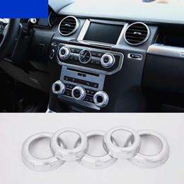 2019 gama cromada 5 pcs Chrome ABS Ar Condicionado Volume Knob Cover Guarnição para Land Rover Freelander 2 / Discovery 4 / Range Rover Sport desconto gama cromada