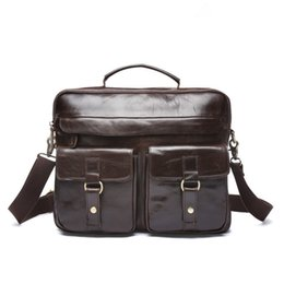 Men Crazy horse Briefcases Genuine Leather Men s Bag Business Laptop  Briefcases Handbags Messenger Bag Men Leather Shoulder Bags 5749c6474fbfd