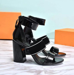 Wholesale Shoes Chunky Heels - High Heel Gladiator Sandals Genuine Leather Fashion Brand Back Zipper Closure Sandals Sexy Ladies Luxury Chunky Heel Summer Shoes SZ34-41