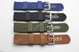 Wholesale Brown Leather Wristband Buckle - Nylon Universal Watch Band 18mm 22mm Four Colors Breathable Sports Wristband Leather Buckle Watch Strap