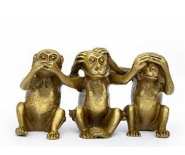 Wholesale Collectibles Antiques - Collectibles Brass See Speak Hear No Evil 3 Monkey Small Statues