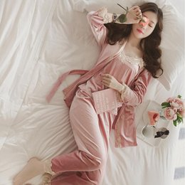 a31f4c443e 2019 New Three Piece Female Sexy Silk Pajamas Set Robe Sling Pajamas Long  Sleeved Pants Women Nightgown 4 Color Sleepwear