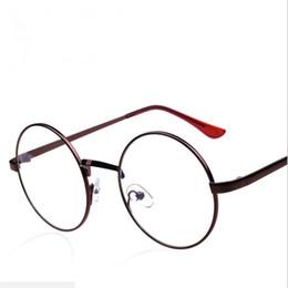 Runde verschriebenen brillen männer online-Vintage Runde Metall Brillengestell Männer Rezept Dekorative Myopie Optische Brillen klare Linse Brillengestell Frauen Brillengestell
