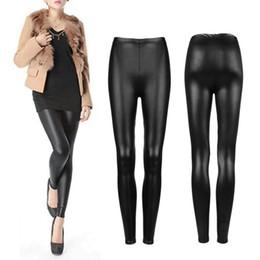 327e75697 leggings calças elásticas couro sintético Desconto Preto Faux PU mulheres  Leggings Skinny Calças Lápis Calças Slim