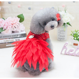 Wholesale Dog Costume Large - 2018 Pet Dog Satin Cocktail Dresses Elegant Sequin Party Tutu Girl Puppies Wedding Costume Skirt Cloth for Chihuahua Yorkie Teddy Princesses
