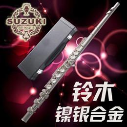Качество флейты онлайн-Высококачественная флейта SUZUKI 16 отверстий C посеребренная флейта с замком