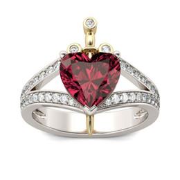 2019 оптовые кольца стерлингового серебра Роскошные женские короны Кольцо Модные серебряные ювелирные изделия с драгоценными камнями Красное кольцо из циркона