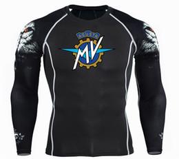 Condición física de la motocicleta online-MV Agusta Motos de impresión Hombres Fitness Long Sleeves T Shirt Hombres Culturismo Piel apretada Camisas de Compresión Térmica MMA Crossfit Entrenamiento