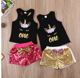 Wholesale Baby Sequin - Kids baby Girl Unicorn Clothes set artoon Vest T-shirt+sequins bow Shorts Outfit birthday costume for girls KKA4386