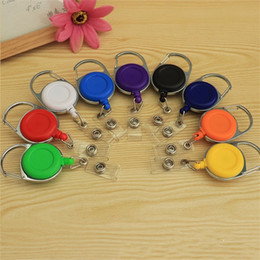 Wholesale Lanyard Pulls - Round Easy Pull Telescopic Buckle ID Cards Hang Keychain Metal Frame Antitheft Retractable key Ring Badge Lanyard Clip Multicolor 1 8gs Y