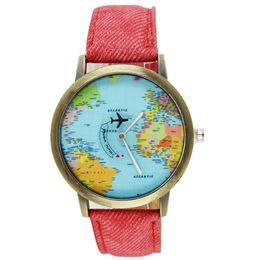 relógios de pulso Desconto Mulheres relógios top marca de luxo Novo Global Travel By Plane Mapa Mulheres Vestido Relógio Denim Tecido Banda 2019 reloj mujer