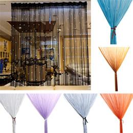 Linea di pannello online-Stringa di perline String Door Window Room Panel Glitter Crystal Ball Nappa String Line Door Window Curtain Divisorio Soggiorno Decorativo