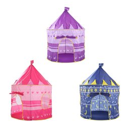 Wholesale playing girl tent - 2018 HOT 3 Colors Pop Up Play Tent Kids Girl Princess Castle Outdoor House Tent Portable Pink Children Gifts