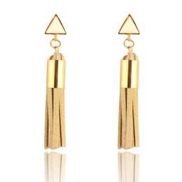 Wholesale Long Black Cross Earrings - 2017 National Wind Stud Earrings Triangle Shape Bohemian Long Model Tassels High Grade Earrings Dainty Solid Color Jewelry For Girls women
