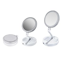 Usb-сенсорная лампа онлайн-2019 Новый My Fold Away LED зеркало для макияжа двухстороннее вращение складной USB освещенный тщеславие зеркало сенсорный экран портативный настольная лампа