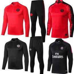 Nuevo MBAPPE PSG chaqueta de chándal de fútbol rojo negro 18 19 calidad thia LUCAS blanco completo traje de entrenamiento de la chaqueta conjuntos de trajes 2019 desde fabricantes