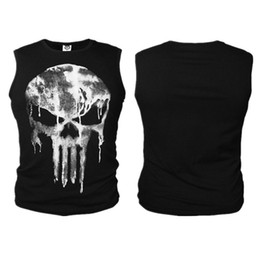gilet punisher Sconti Punisher 3D T-shirt gilet Slim Elastic Compression T-Shirt Cosplay Costume Top Tees Ghost Shirt Skull Gilet senza maniche Cosplay GGA928