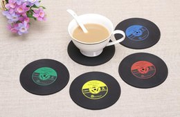 Wholesale Tea Coffe - 200pcs Novelty Gift Drinks Retro CD Vinyl Record Coffe Tea Drinking Coasters Anti-Heat Cup Mat Hot Promotion