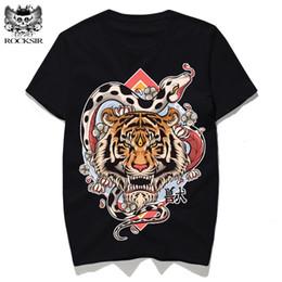Wholesale Tiger Print Long Shirts Design - Rocksir design Variation of tiger snake print Summer T-shirt men's T-shirts Cotton tee shirt black T-shirts tshirt men t shirts
