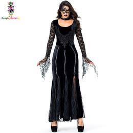Anello di maschera nera online-Gothic Deluxe Women Lace Black Long Dresses Costume di Halloween Party Vampire con maschera per gli occhi / anello al collo Misteriosi costumi della regina