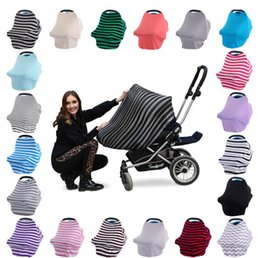 Wholesale Breastfeeding Blankets - 36 styles INS Stretchy Cotton Baby Nursing Cover breastfeeding Stripe Safety seat car cover Privacy Cover Scarf Blanket GGA410 30PCS