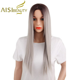 Wholesale Wig Long Grey - Aisi Beauty 26 Inch Long Straight Ombre Grey Hair Wigs Cheap Heat Resistant Synthetic Fiber Wigs