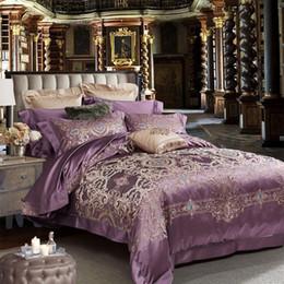 lila seidendecke Rabatt neue Luxus Maulbeerseide Tröster Set König Größe 80er Jahre lila Blume Beddengoed Erwachsenen Bettlaken Hochzeitspaare Heimtextilien Betten