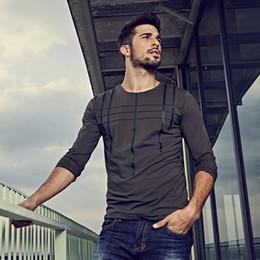 Schwarzes gestreiftes langarmt-stück online-Neue Herbst Herren T Shirts gestreift grau grün schwarz Markenkleidung für Männer Langarm T-Shirts schlank plus Größe Tops Tees