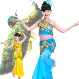 2019 paon élasthanne Nouveau costume Dai enfant de sexe féminin self-cultivation Thaïlande Xishuangbanna costume de danse jupe queue de poisson traditionnelle paon élasthanne pas cher