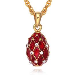 Wholesale egg necklace - Mini Size Enamel Handmade Jewelry Brass Faberge Egg Pendant Crystal Rhinestone Necklace Gift To Women girls