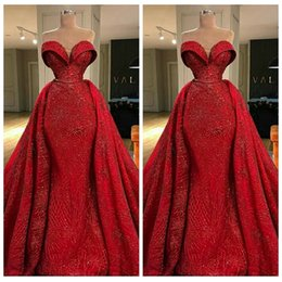 Wholesale big evening gowns - 2018 New Sweetheart Bling Bling Mermaid Prom Dresses Special Occasion Party Gowns Big Long Train Celebrity Evening Party Gowns Custom