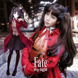 Wholesale Fate Stay Night Game - Anime Fate Stay Night Cosplay Costume Rin Tohsaka Cosplay Costume Halloween Costume for Women Trench Coat Vest Skirt Full Set