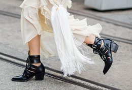 chunky cut out ankle boots Promo Codes - Fall Winter Bandage Cut out High top Boots Cowhide Fashion Punk Booties