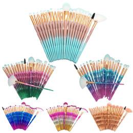Wholesale Wholesale Eye Brow Brushes - MAANGE 20Pcs shell makeup brush Kit Eyeshadow Brow Eyeliner Eye Lashes Lip Foundation Power Cosmetic Make Up Brush Beauty Blending Tool