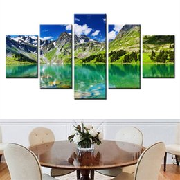 Wholesale river picture - Home Decor Poster Frame Wall Art HD Pictures Living Room 5 Pieces Mountains Rivers Natural Landscape Painting Modern Canvas