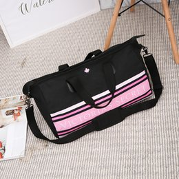 canvas tote bag large stripe Coupons - Large capacity tote bag pink stripe duffle bag beach maple leaf shoulder weekend VS handbags for women