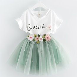 Wholesale Girls Skirts Tops - Girls Clothes Set T-shirt Skirts Floral Volie New Fashion Kids Flower Embroidery Princess Short Sleeve Tops Skirt 2pcs Clothing Sets