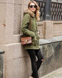 Wholesale wholesale furs coats - New hot Plus Size Womens Warm Long Coat Artificial Fur Collar Hooded Jacket Slim Winter Parka Fashion Outwear Coats 16 Color