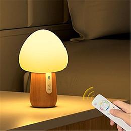 iluminación de sílice Rebajas 5 colores de control remoto inalámbrico LED luz de la noche USB recargable ajustable brillo seta lámpara de escritorio de gel de sílice
