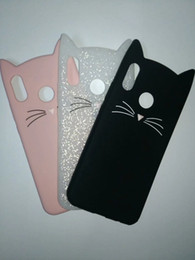 Wholesale huawei cat - 3D Cat Smile Soft Silicone Case For Galaxy S9 Plus A8 Plus 2018 For Huawei P20 Lite Cute Gel Lovely Colorful Pink Black Phone Cover Skin