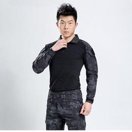 Codo de la chaqueta online-Kryptek Black Uniform Men Gen 3 Tactical Training Rana Uniforme Ropa Chaqueta Pantalones con Almohadillas de Codo de Rodilla