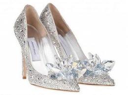 Canada Top Grade Chaussures De Cristal De Cendrillon De Mariée Strass Chaussures De Mariage Avec Des Fleurs En Cuir Véritable Grand Petit Size35 À 40 Offre