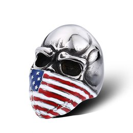 Wholesale Flag Rings - New Men's Stainless Steel Ring Flag skull European American High-quality Fashion 316L Titanium Steel Rings Jewelry Gift