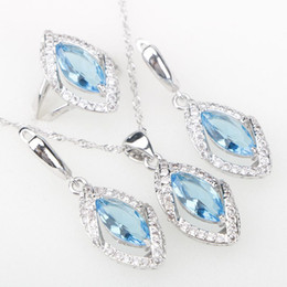 Wholesale Gold Jewelery Sets - whole saleSky Blue CZ Silver 925 Costume Jewelry Sets Eyes Pendant Necklace Rings Earrings With Stones Women's Jewelery Set Free Gift Box